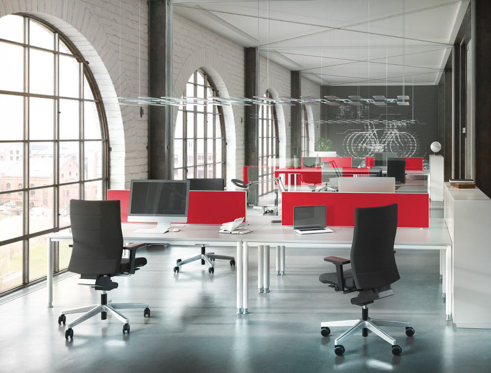 Several high CHAMP office chairs in black form a picture of visual perfection in this open-plan office flooded with light.