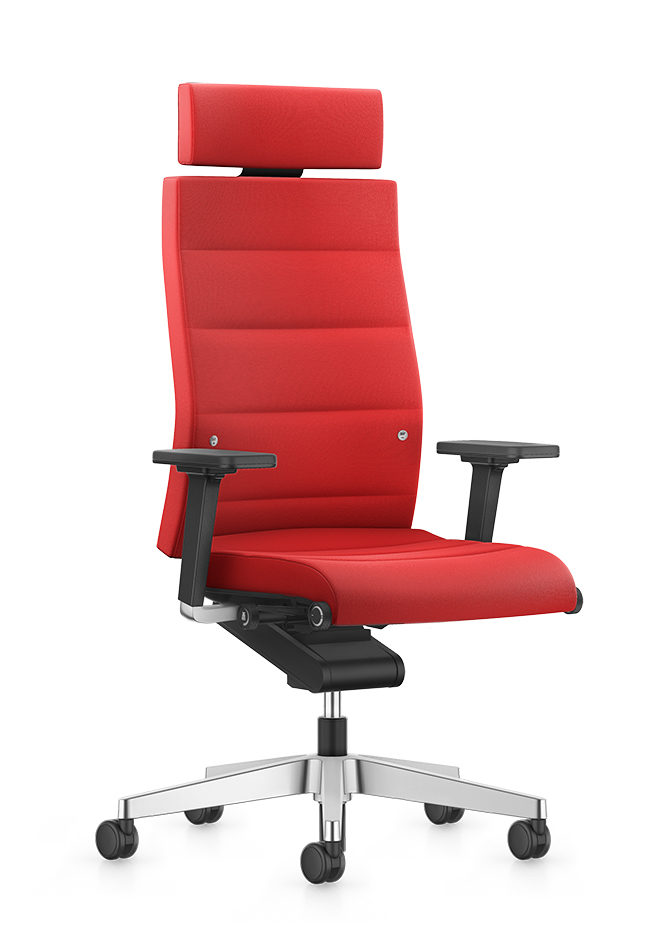 Front view of the high CHAMP desk chair with a headrest in a modern design. Red seat, backrest and headrest cover. Black 2D width- and height-adjustable T-armrests are an elegant component for the lockable Body-Float synchronous mechanism. A polished aluminium base and double castors make CHAMP a real eye-catcher.