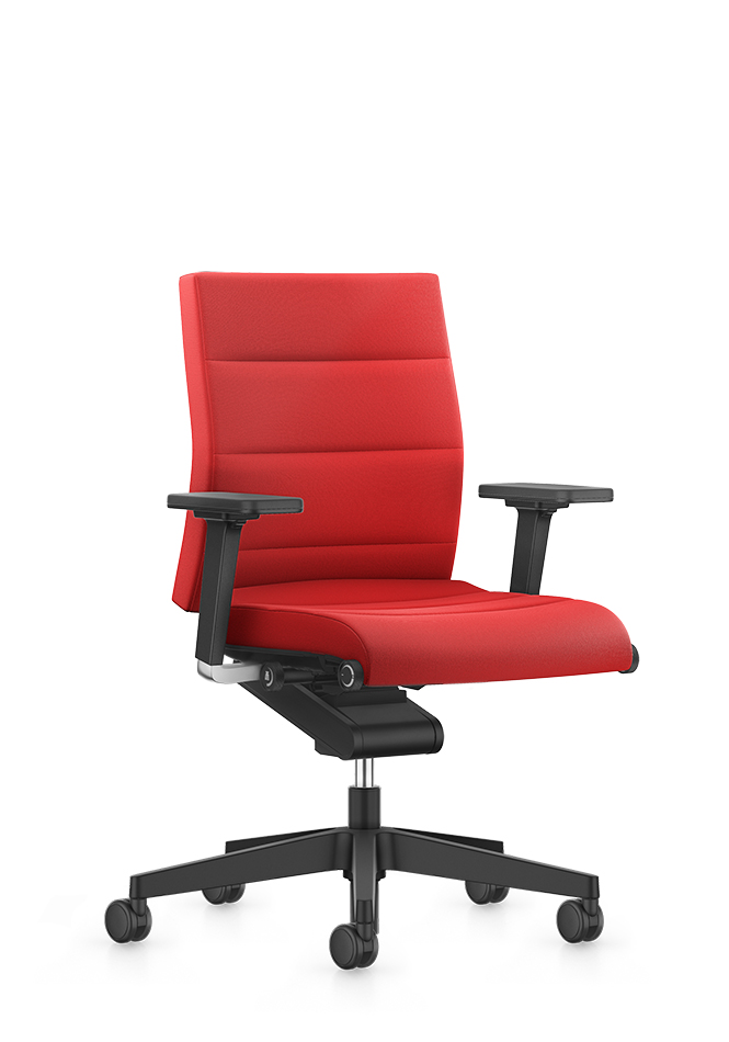 Front view of the medium CHAMP office swivel chair in a modern design. Red seat and backrest cover. Black 2D width- and height-adjustable T-armrests are an elegant component for the lockable Body-Float synchronous mechanism. A black aluminium base and double castors make CHAMP a real eye-catcher.