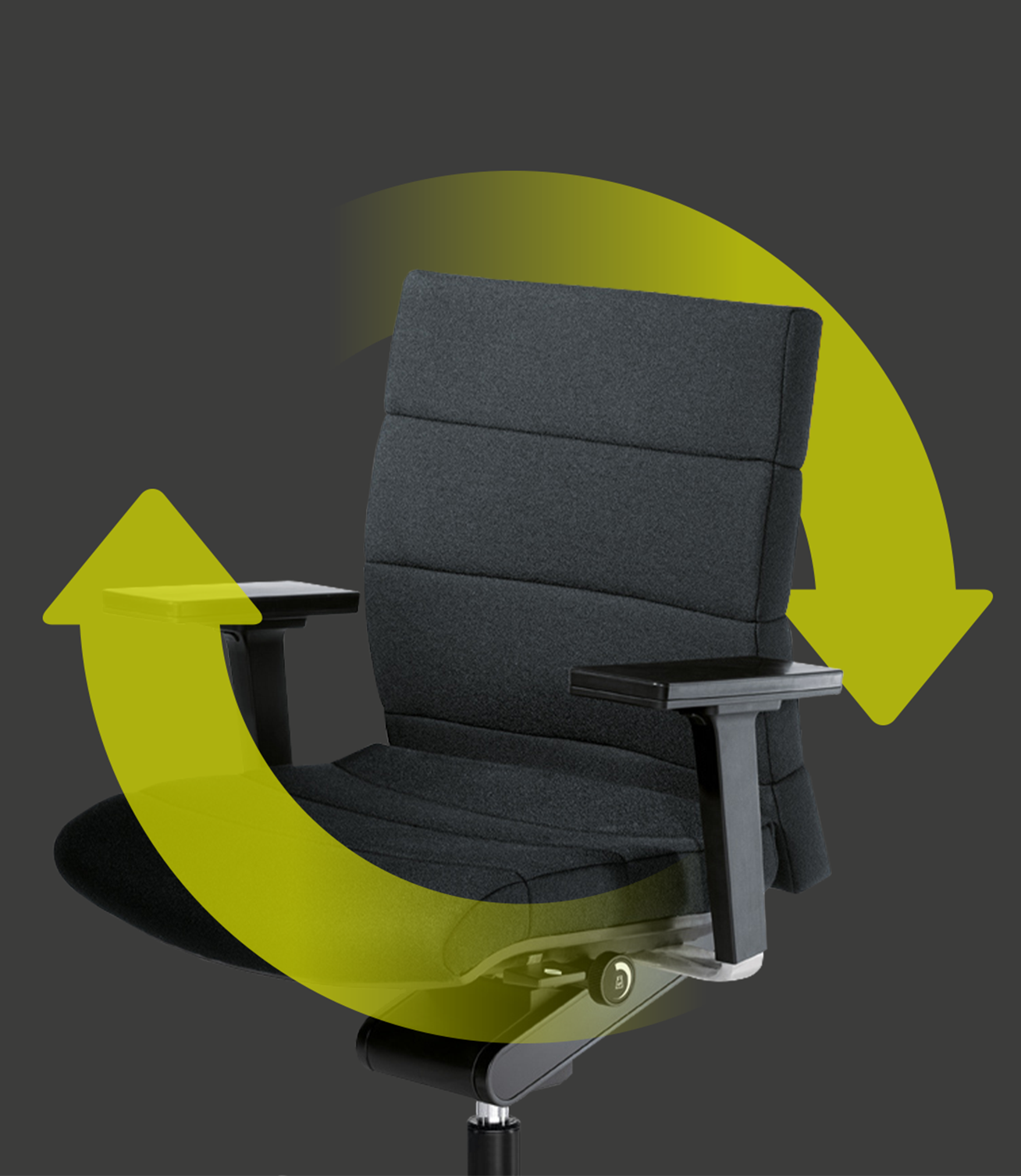 The elegant CHAMP office chair with a grey seat and backrest cover with two green arrows forming a circle around the chair. These indicate the sustainability and reusability of the chair.