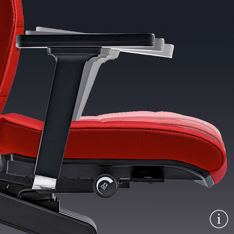 Side view of the ergonomic CHAMP office chair in red. The primary focus is on the black 4D T-armrests, and white shadows indicate their adjustability for every user.