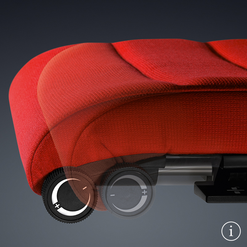 Close-up of the red seat on the innovative CHAMP desk chair. The function of the astiv seat depth adjustment is shown.