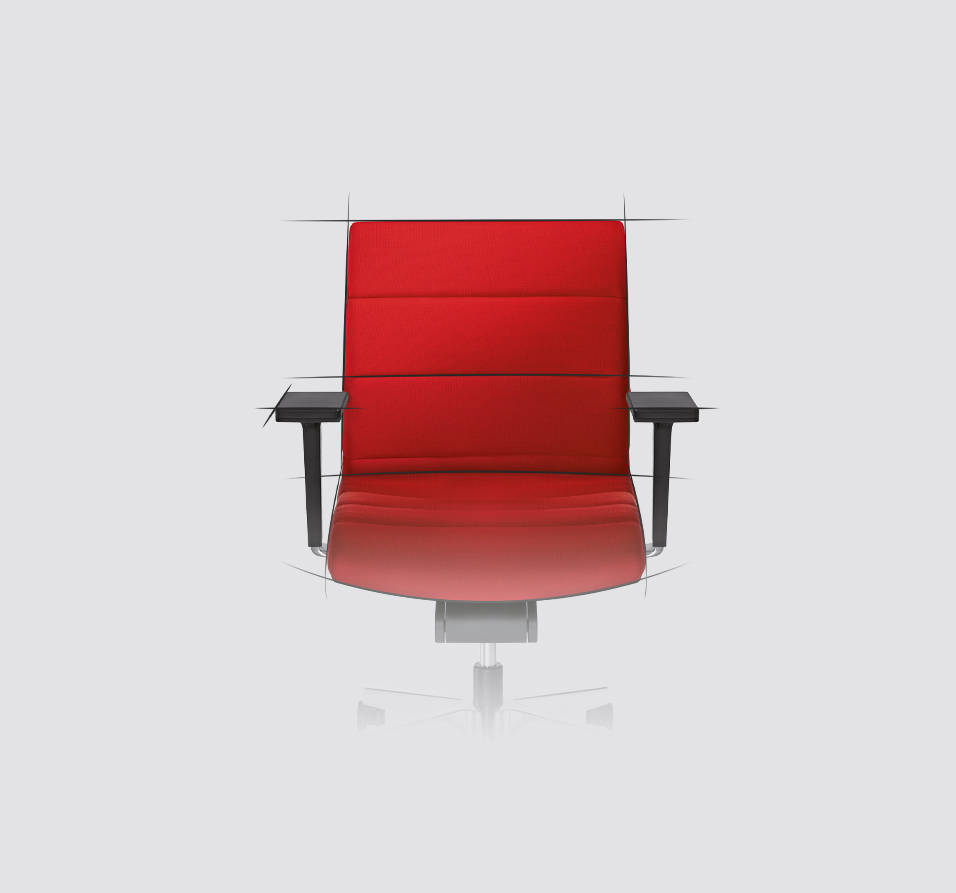 Front view of the CHAMP swivel chair in red. Black lines that look similar to a drawing are reminiscent of the designers' ideas. With CHAMP, an office swivel chair has been created that combines technical innovation with a timeless design.