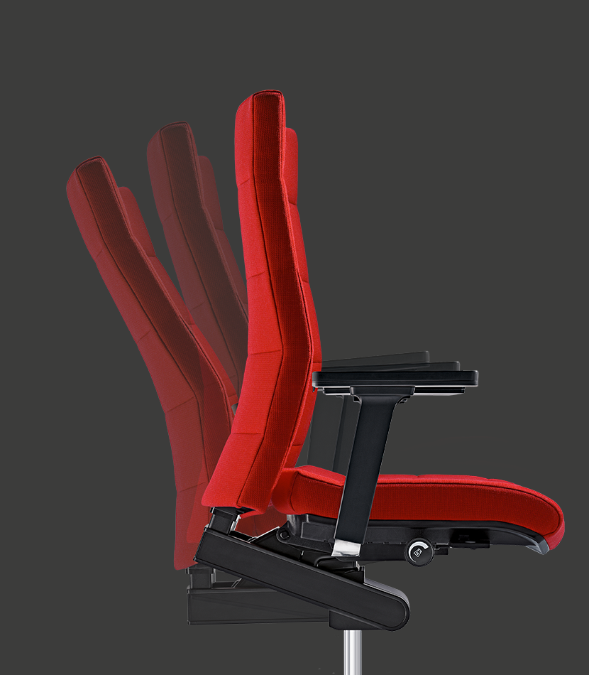 Side view of the elegant, high CHAMP swivel armchair in red. Several shadows indicate the mobility of the backrest.