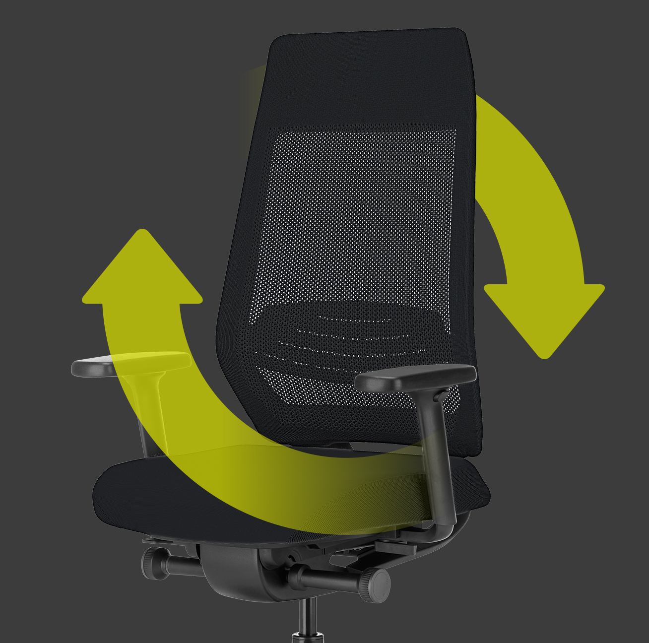 Side view of the ergonomic JOYCE swivel chair with black mesh backrest, black seat cover, black T-armrests and plastic parts in black (including base, column) with two green arrows forming a circle around the chair. This indicates the sustainability and reusability of the chair | by Daniel Figueroa