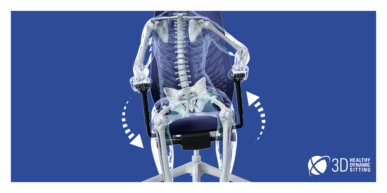 A transparent figure, whose skeleton is visible, sitting on a JOYCE swivel chair with black mesh backrest, blue seat cover, black T-armrests and plastic parts (including base, column) as well as FlexTech in white. The transparent figure is shifting its weight to the right, causing the chair to adapt to its movements. Around the chair, two white arrows form a circle, indicating the mobility of the chair. This active sitting is promoted by the FlexTech function.
