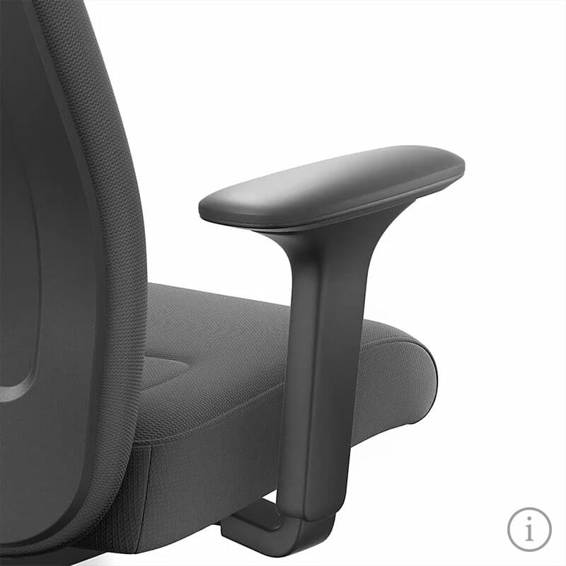 A side view close-up of the NEW EVERYis1 office chair, focusing on the armrest, on a white background. Further information is available via the information button at the bottom right | by Interstuhl