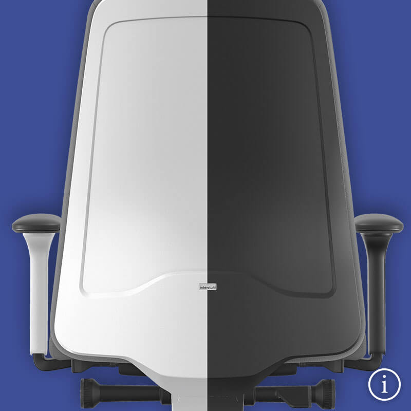 The backrest of the NEW EVERYis1 swivel chair on a blue background, with one half in white and the other in black. Further information is available via the information button at the bottom right | by Interstuhl