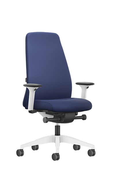 NEW EVERYis1 swivel chair with a blue high upholstered backrest, blue seat cover, integrated white edge protection and synchronous mechanism | by Interstuhl