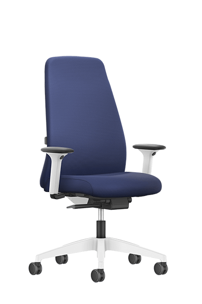 NEW EVERYis1 swivel chair with a blue high upholstered backrest, blue seat cover, integrated white edge protection and Autolift mechanism | by Interstuhl