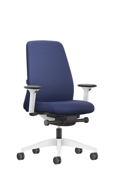 NEW EVERYis1 swivel chair with a blue medium upholstered backrest, blue seat cover, integrated white edge protection, synchronous mechanism and FLEXTECH INSIDE | by Interstuhl