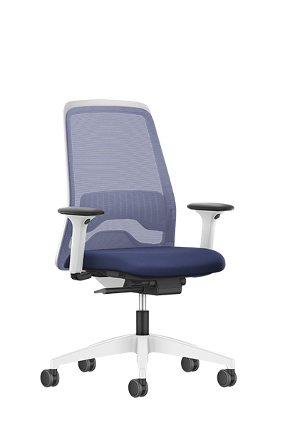 NEW EVERYis1 swivel chair with a blue medium mesh backrest, blue seat cover, integrated white edge protection and Autolift mechanism | by Interstuhl