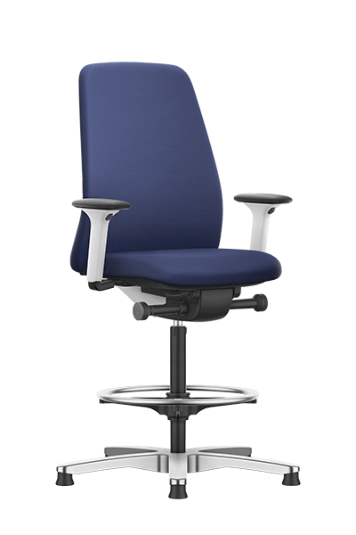 NEW EVERYis1 counter chair with a blue medium upholstered backrest, blue seat cover, integrated white edge protection and synchronous mechanism | by Interstuhl