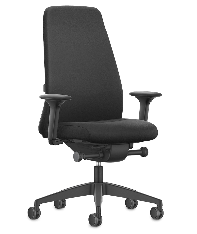 A front view of the NEW EVERYis1 swivel chair with a black upholstered backrest, black seat cover, black arm pads and black plastic parts (incl. base, back frame) | by Interstuhl
