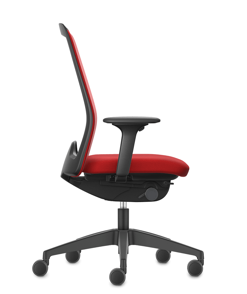 A side view of the NEW EVERYis1 swivel chair with a red Chillback backrest, red seat cover, black arm pads and black plastic parts (incl. base, back frame) | by Interstuhl