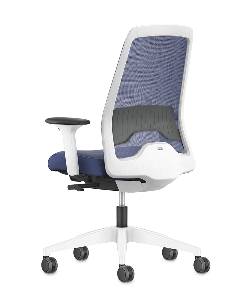 NEW EVERYis1 swivel chair with a blue mesh backrest, blue seat cover, black arm pads and white plastic parts (incl. base, back frame) | by Interstuhl