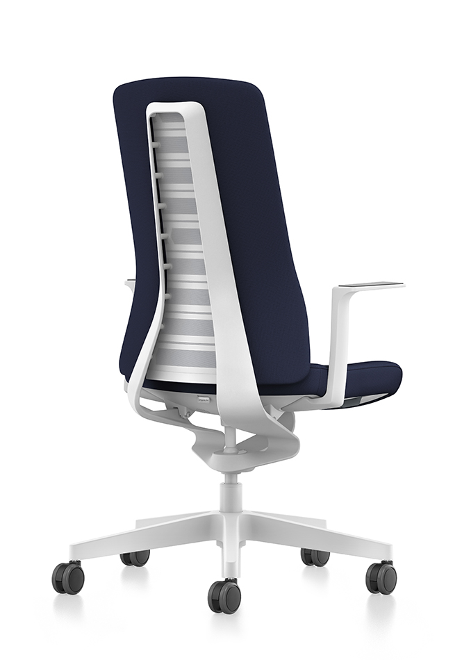 Side view of PURE design swivel chair with blue upholstered backrest, blue seat cover, white T-armrests and plastic parts in white, (base, column, among others) with Smart Spring technology | by Andreas Krob & Joachim Brüske, b4k