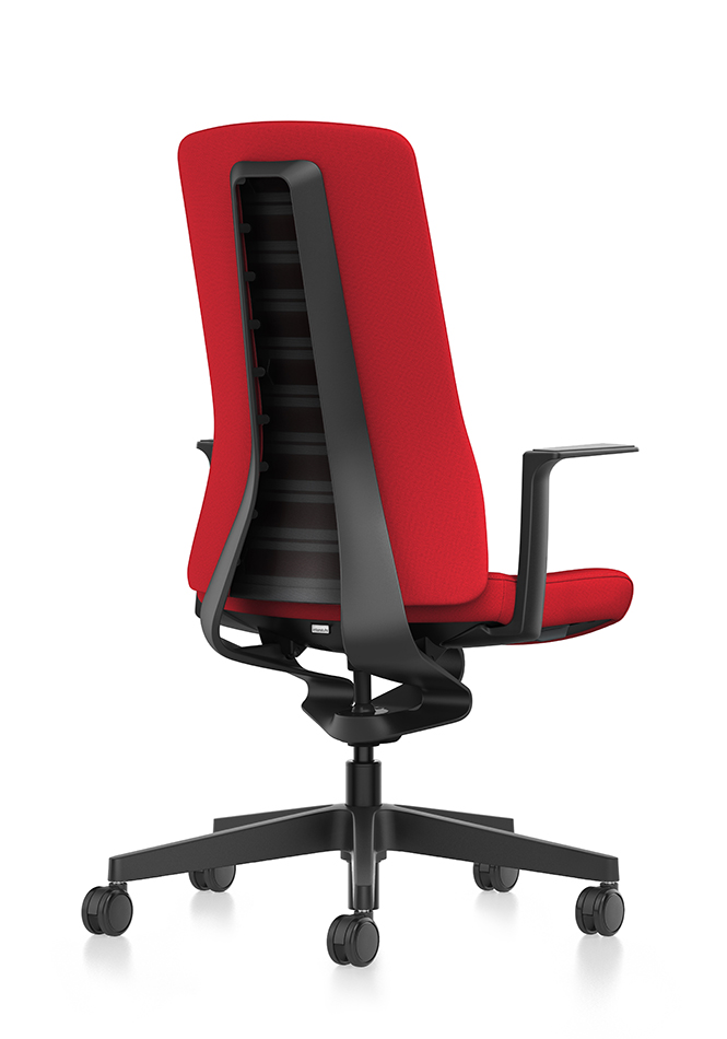 Side view of PURE ergonomic desk chair with red upholstered backrest, red seat cover, black T-armrests and plastic parts in black, (base, column, among others) with Smart Spring technology | by Andreas Krob & Joachim Brüske, b4k