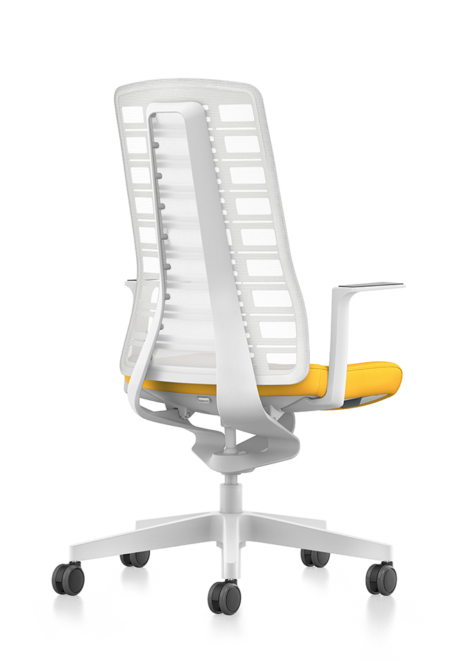 Side view of PURE design desk chair with white mesh backrest, yellow seat cover, white T-armrests and plastic parts in white, (base, column, among others) with Smart Spring technology | by Andreas Krob & Joachim Brüske, b4k