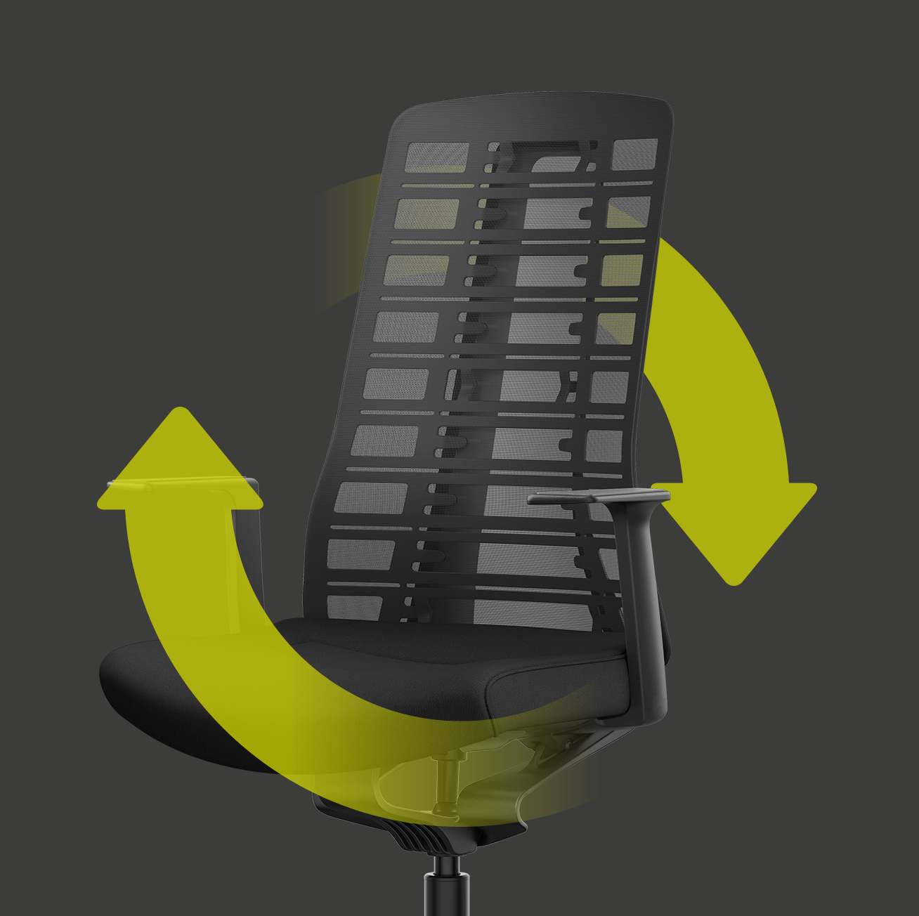 Side view of the PURE ergonomic office chair with black mesh backrest, black seat cover, black T-armrests and plastic parts in black with two green arrows arranged in a circle. The arrows indicate sustainability and reusability.
