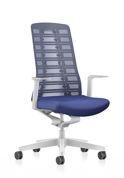 Side view of PURE (PU213) design swivel chair with blue mesh backrest, blue seat cover, white T-armrests and plastic parts in white, (base, column, among others) with Smart Spring technology | by Andreas Krob & Joachim Brüske, b4k