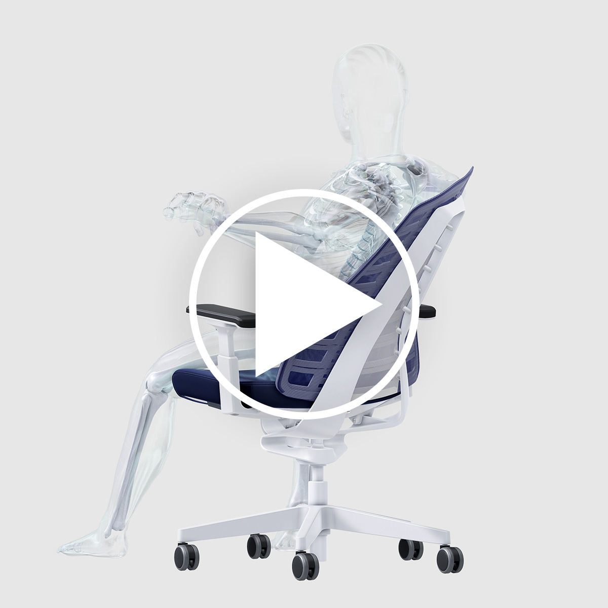 Video showing the three factors promoting the users' own health and ergonomics by means of a person on the PURE desk chair.