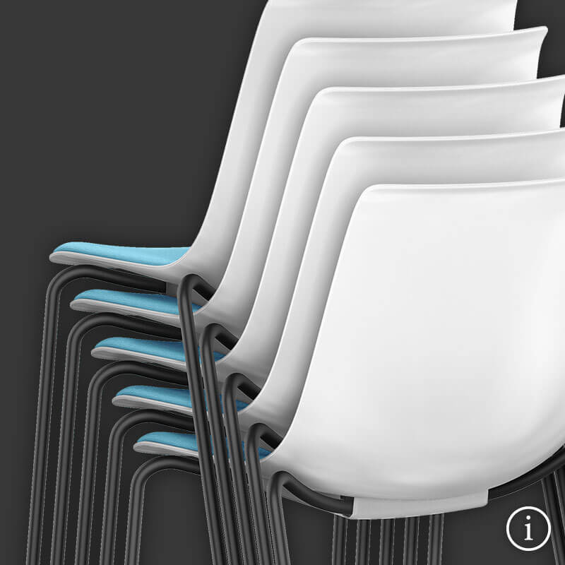 The SHUFFLEis1 with a white plastic shell, blue padded seat and four black-coated legs stacked in front of a dark grey background. Further information is available via the information button at the bottom right | by Interstuhl