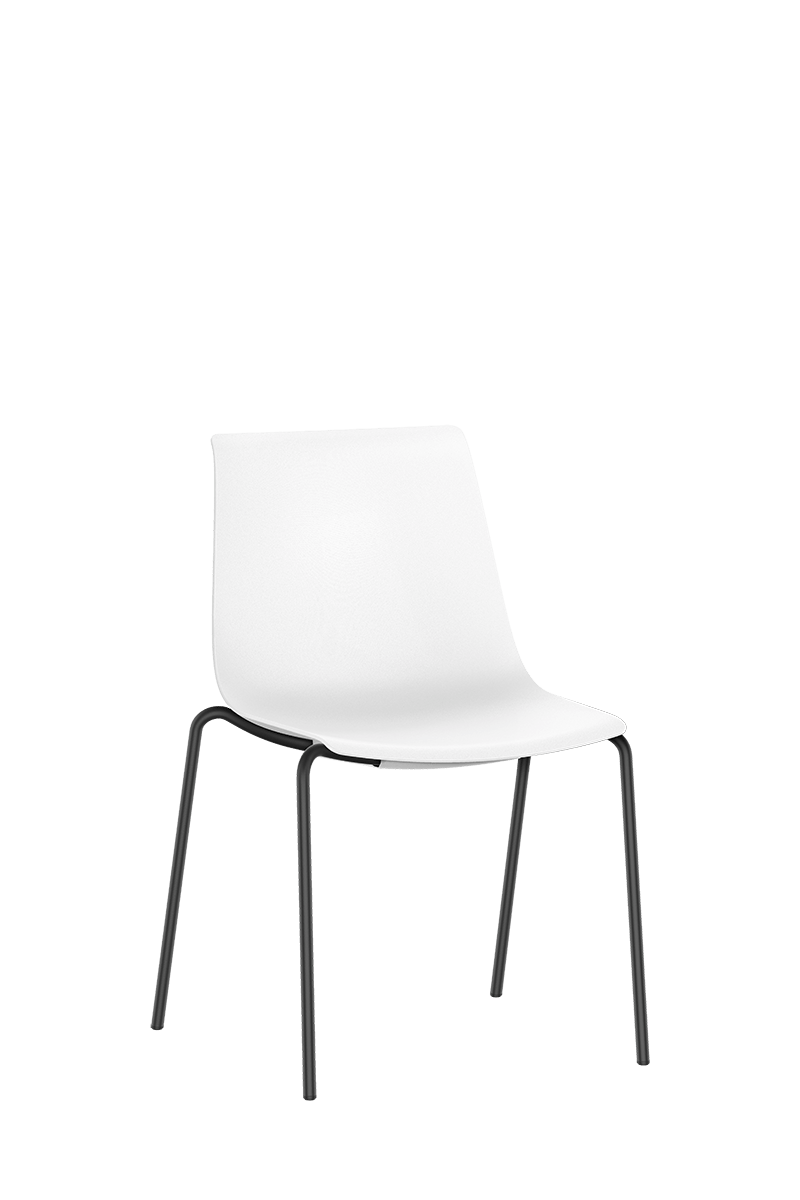 SHUFFLEis1 visitor chair with four black-coated legs and a non-padded white plastic shell | by Interstuhl