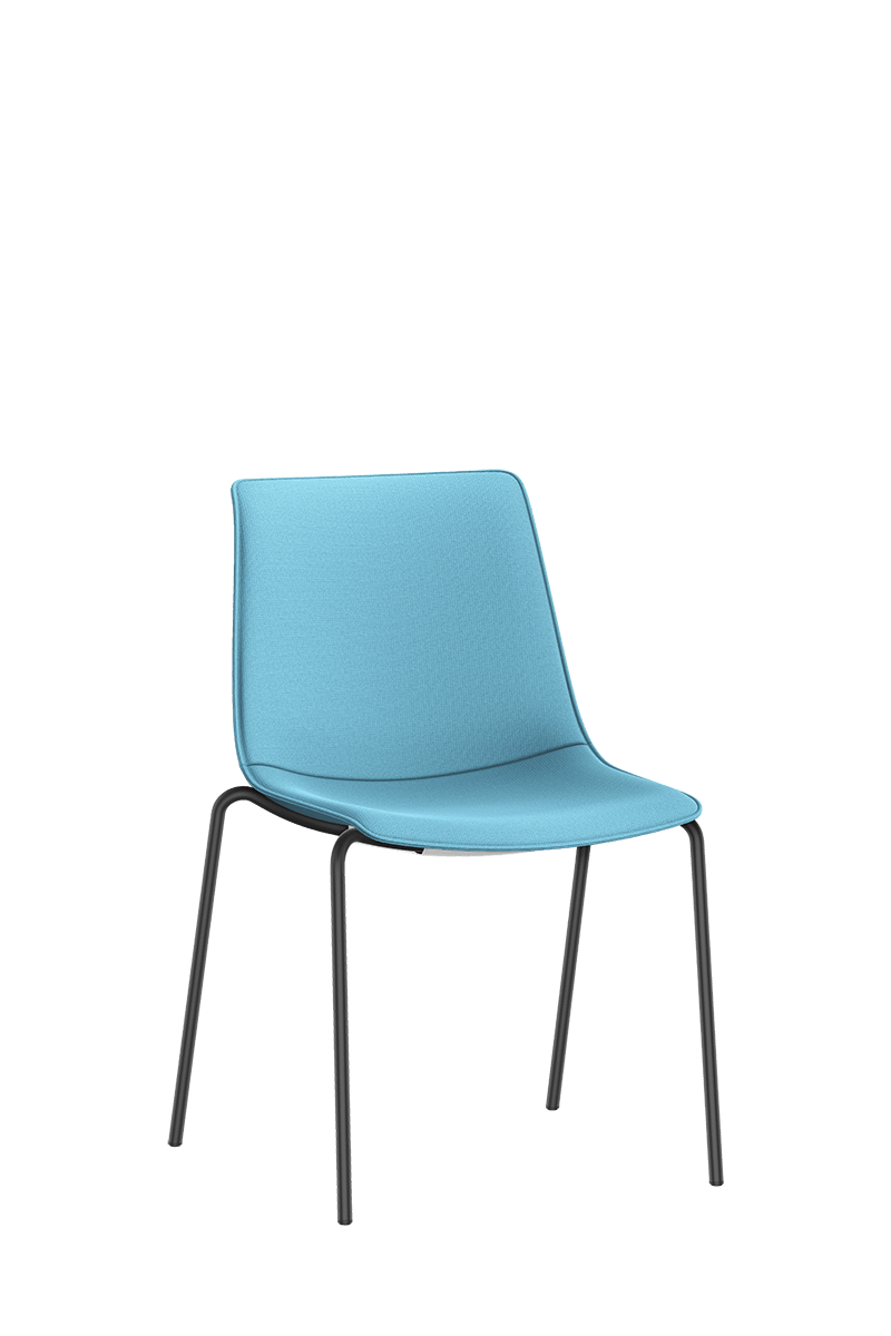 SHUFFLEis1 visitor chair with four black-coated legs and fully upholstered in blue | by Interstuhl