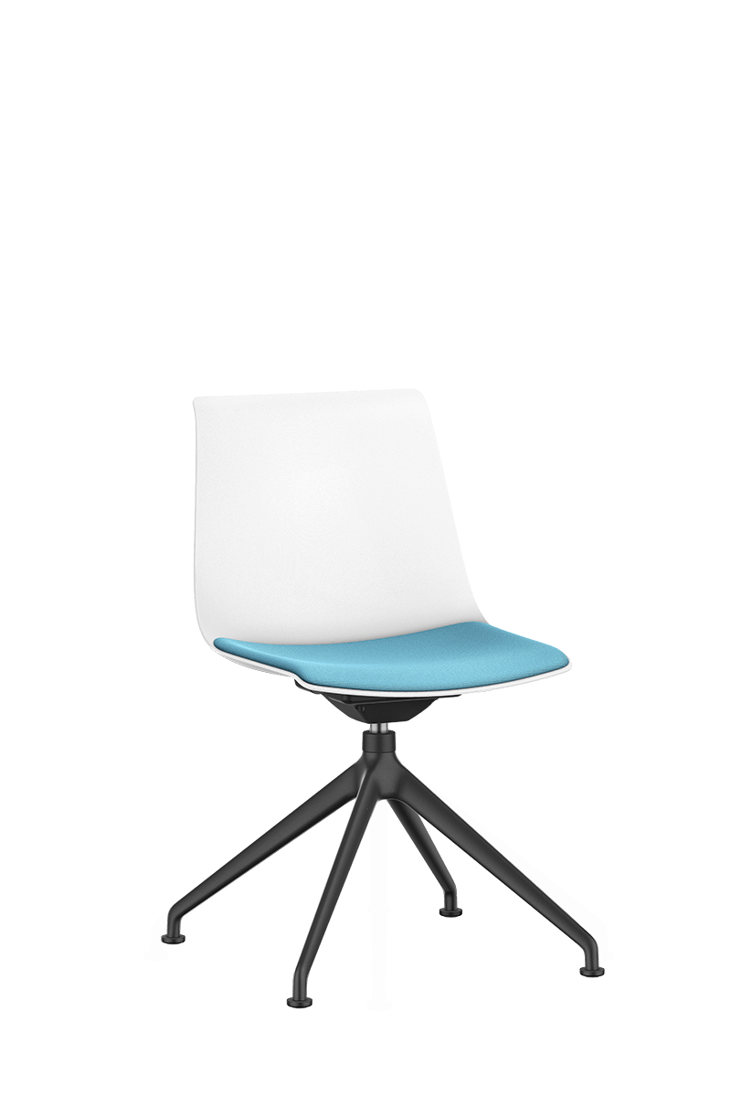 SHUFFLEis1 visitor swivel chair with a black-coated four-star base and swivel, white plastic shell and blue padded seat | by Interstuhl