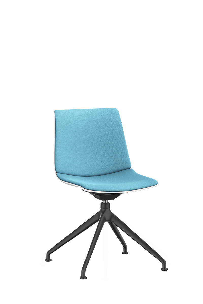 SHUFFLEis1 visitor swivel chair with a black-coated four-star base and swivel and a blue padded seat and backrest | by Interstuhl