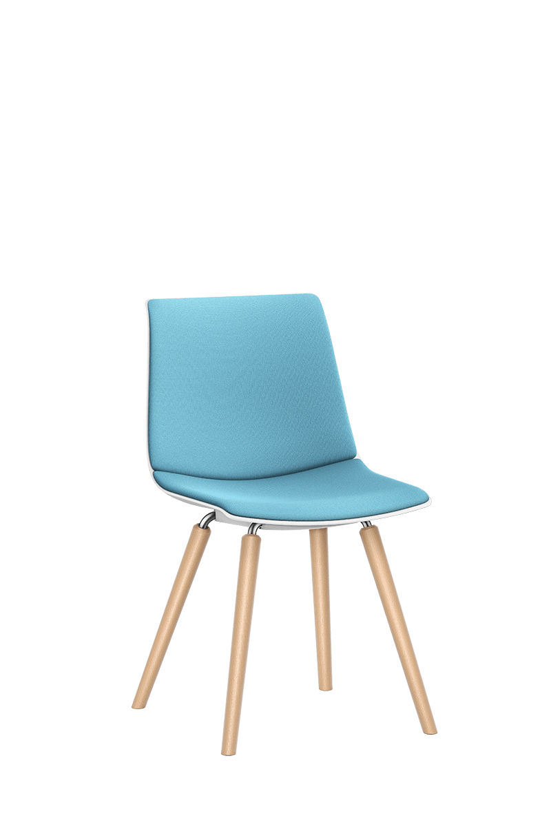 SHUFFLEis1 visitor chair with a four-legged wooden base frame, blue padded seat and backrest | by Interstuhl