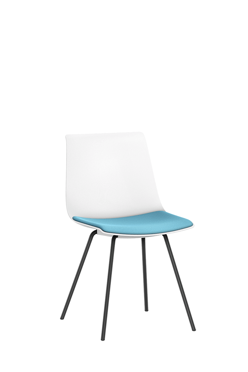SHUFFLEis1 visitor chair with a black-coated pyramid frame, white plastic shell and blue padded seat | by Interstuhl