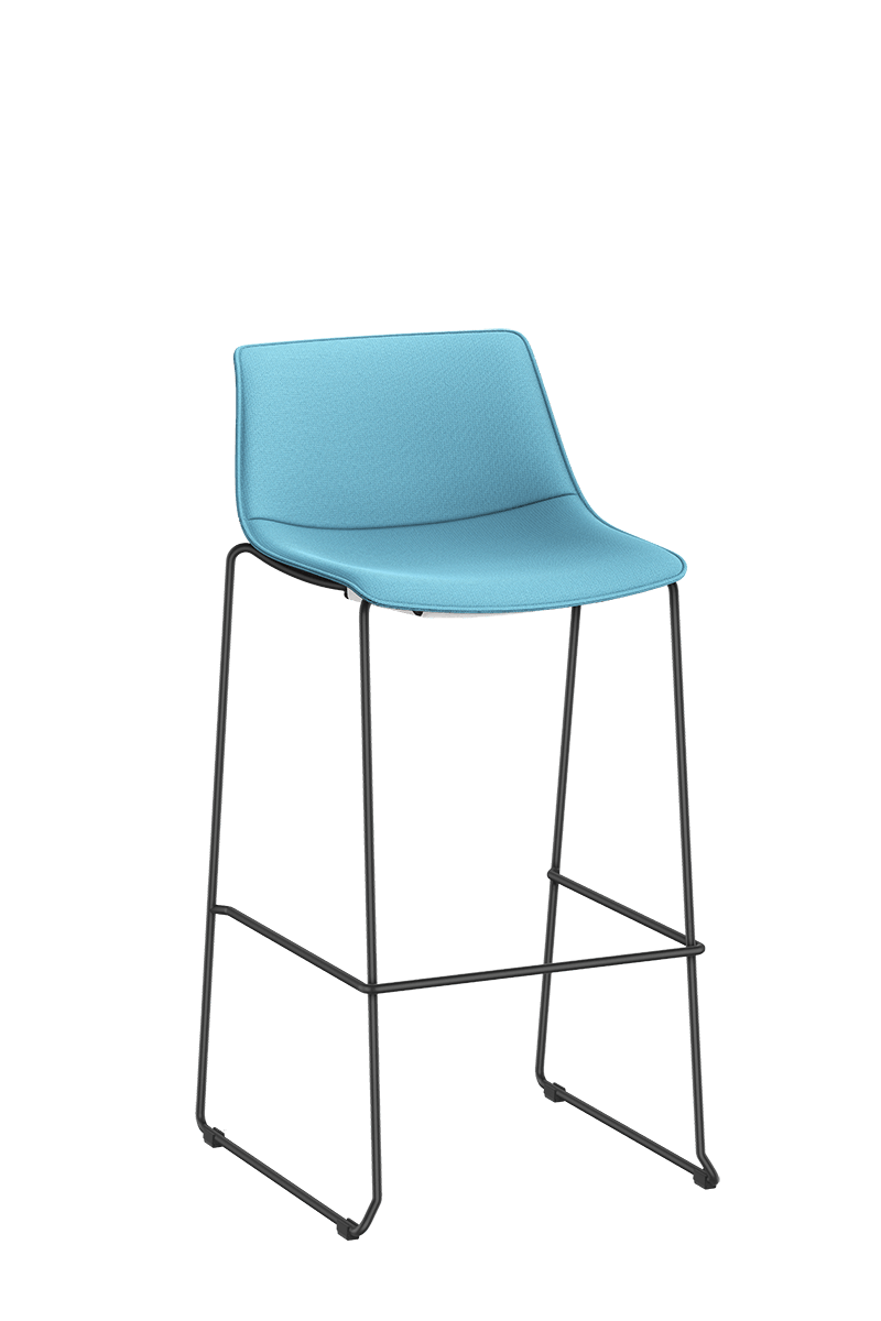 SHUFFLEis1 bar chair with a sled base, black-coated frame and fully upholstered in blue | by Interstuhl
