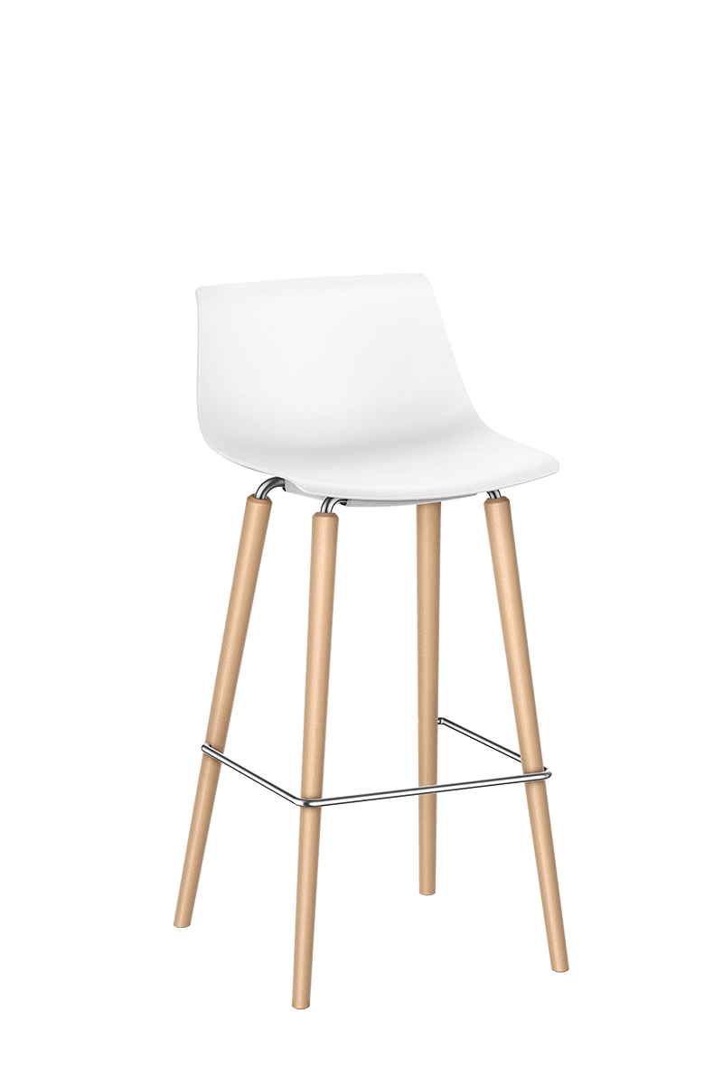 SHUFFLEis1 bar chair with a four-legged wooden base frame and non-padded white plastic shell | by Interstuhl