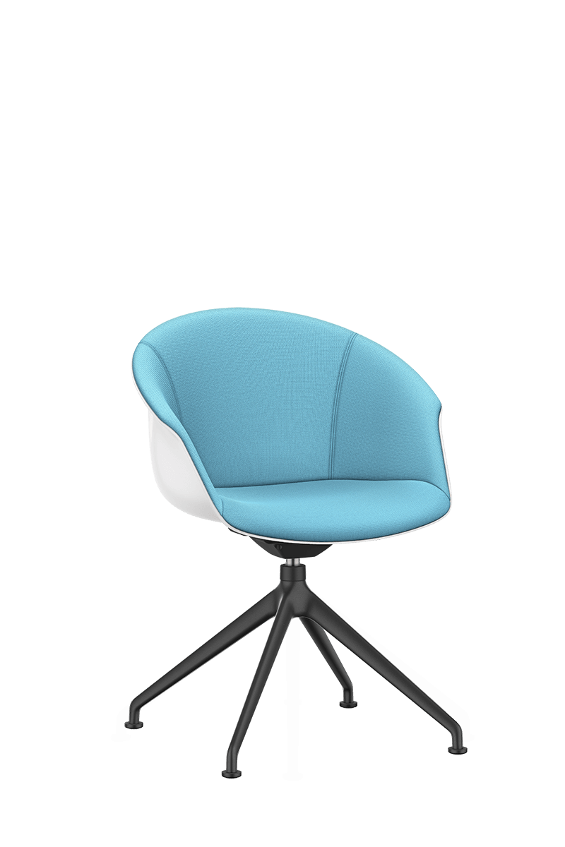 SHUFFLEis1 lounge swivel chair with a black-coated four-star base and swivel, white plastic shell and fully upholstered in blue | by Interstuhl