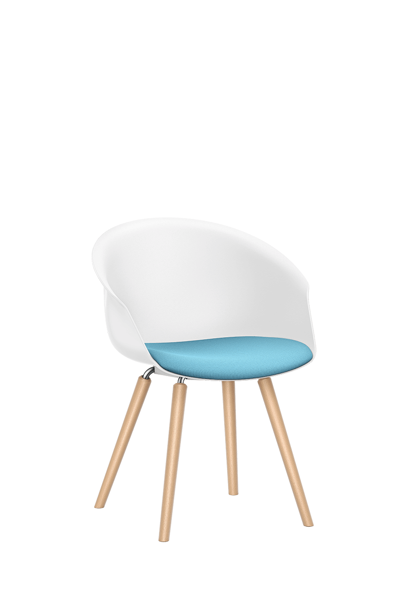 SHUFFLEis1 lounge chair with a four-legged wooden base frame, white plastic shell and blue padded seat | by Interstuhl