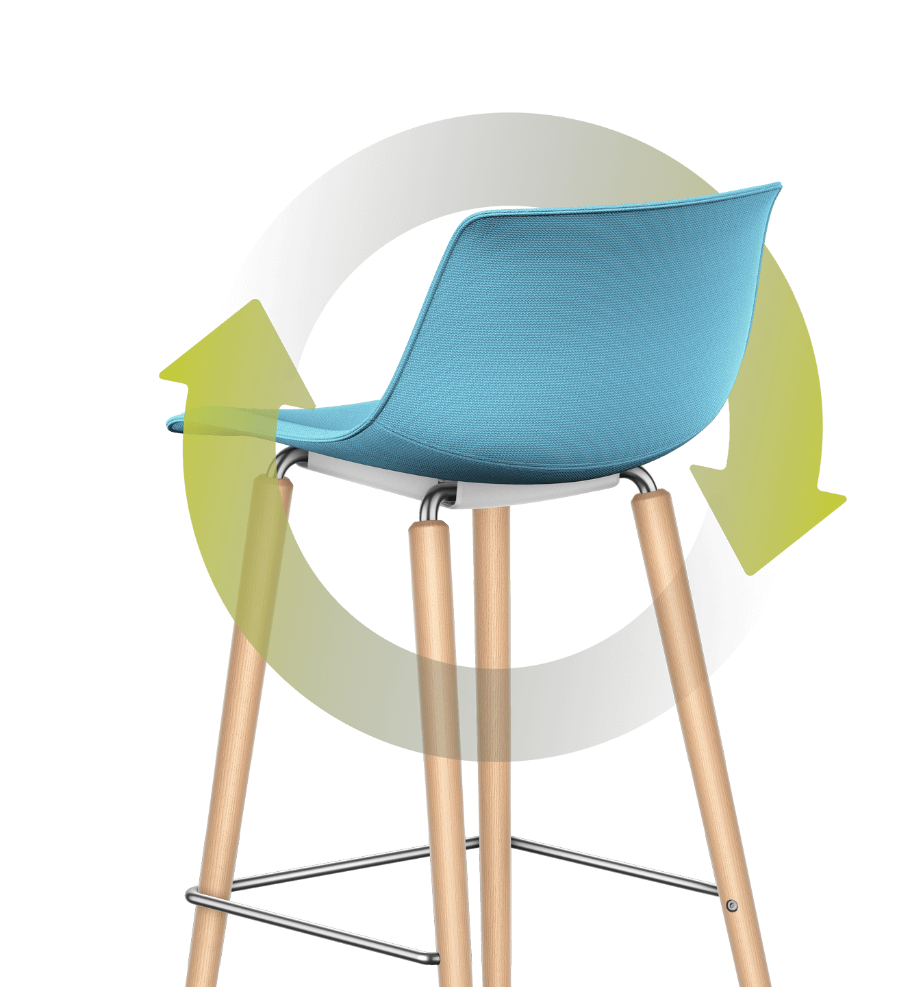 An illustration of green leaves loops around the bar chair with a padded seat and backrest and four-legged wooden base frame. The stem loops around the chair in a circular motion, with the leaves leaning against the rear of the padded backrest.